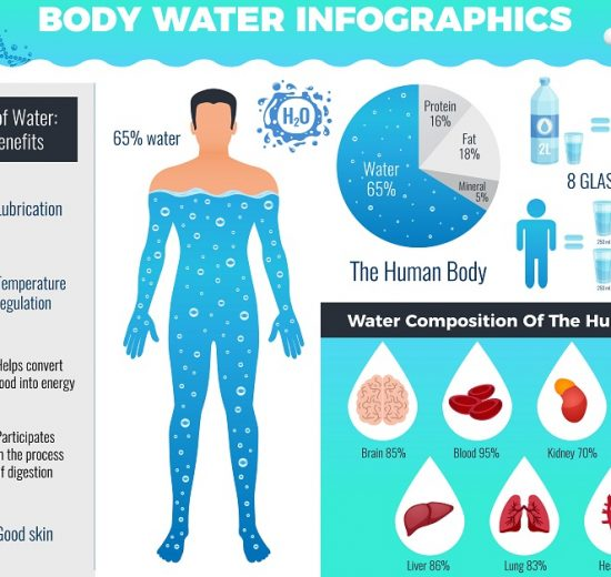 Body And Water Infographic Set